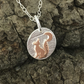 Tiny Dreaming Fox & Moon Pendant Copper, & Sterling Silver Necklace, Fox, Moon .