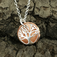 Silver Copper Tree of Life Moon Necklace, Handmade, Metalsmith