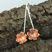 Little Flowers Sterling Silver, Copper Drop Earrings - Handmade by metalsmith