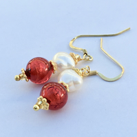 A Venetian Red Glass Quality Pearl, Gold Vermail Earrings Wedding Valentine