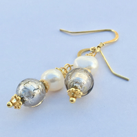 Venetian Platinum Glass Quality Pearl, Gold Vermail Earrings Wedding Valentine
