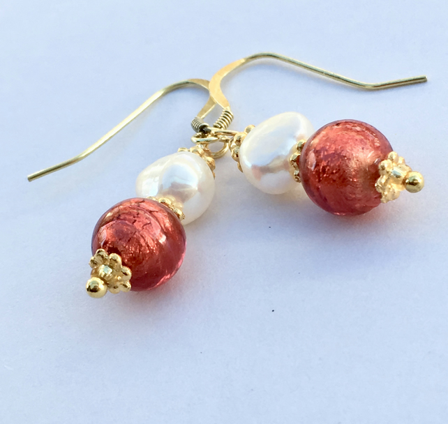 Cranberry Venetian Glass Quality Pearl, Gold Vermail Earrings Wedding Valentine