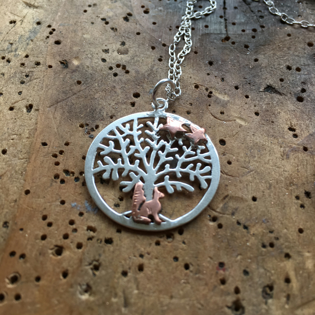 Silver fox tree of life pendant with copper fox folksy silver fox tree of life pendant with copper fox silver necklace fox stars aloadofball Image collections