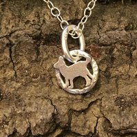 Tiny Little Cat Sterling Silver Pendant silver kitten -hand sawn by artist maker