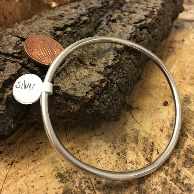Simple Silver Heavy Sterling Silver Bangle, Mens Jewellery  Bracelet, Cuff.