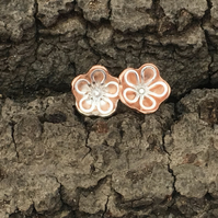 Silver Copper flower Stud Earrings - silver, handmade, metalsmith, daisy petal