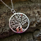 Two Bunnies Under the Moon Silver Tree of Life Necklace, Pendant.