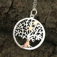 Little Cat Under the Stars Silver Tree of Life Necklace, Pendant.
