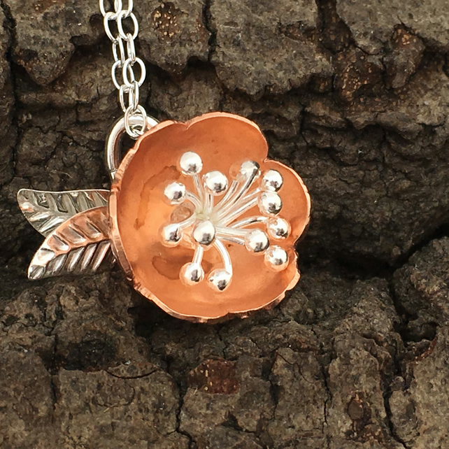 Copper and Silver Bobble Flower Pendant, Silver Necklace, Flower Stamen.