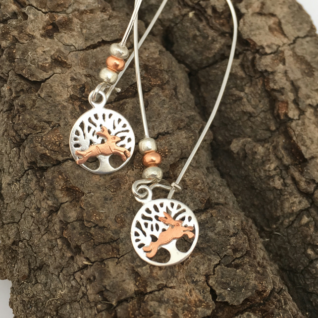Hare Silver Tree of Life Long Earrings, Long Drop, Silver, Copper, Rabbit.