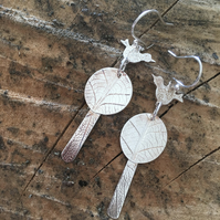Bird & Tree Earrings Sterling Silver long earing Handmade in England, Metalsmith