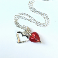 Red Heart Silver Heart Necklace Solid Silver Venetian Ruby Glass Bridesmaid