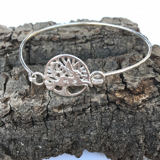 Running Hare Silver Tree of Life Bangle, Bracelet, Tree of Life Cuff Folklaw