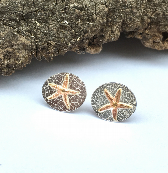 Starfish Stud Silver Copper Stud Earrings - silver, handmade, metalsmith