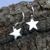Silver Star Earrings, sterling silver drop earrings.