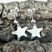 925 Silver Star Earrings, sterling silver drop earrings. Posts.