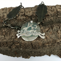 Running Hare Nightscape Necklace. Diane Lee Silver. Handmade Silverhare Necklace