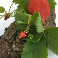 Strawberry Necklace Gold plated silver necklace with Enamel Details Red Green