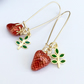 Strawberry Earrings Gold plated silver Earrings with Red Green Enamel