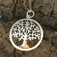 Sitting Budda under Silver Tree of Life Necklace, Meditation Pendant.