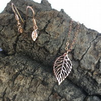 Rose Gold Leaf Earrings and Necklace Set, Rose Gold Vermail Leaves.