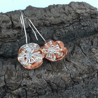 Copper Silver Bobbly Flower Earrings, Long Drop, Copper.