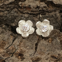 Flower Crystal stud earrings - silver, handmade, metalsmith, daisy petals
