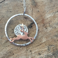 Silver Pendant Necklace  - Hare and circle of life.
