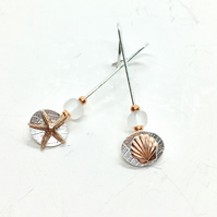 Mismatched Silver Starfish Sea Shell Threader Earrings with Brown Glass Beads