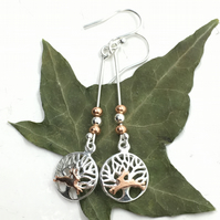 Hare Silver Tree of Life Long Earrings, Long Drop, Silver, Copper, Bunnies.