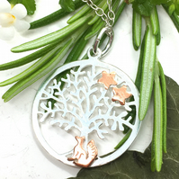 Silver Fox Tree of Life Pendant with Copper Fox, Silver Necklace, Fox, Stars.