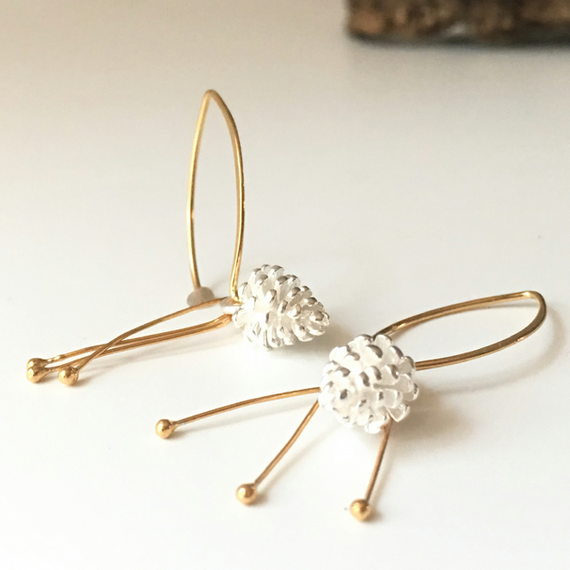 Pinecone Earrings - silver, gold drop earrings metalsmith.