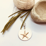 Starfish Silver Copper Necklace - silver, handmade, metalsmith seaside