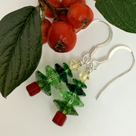 Christmas Tree Earrings - silver, green red drop earrings metalsmith. B