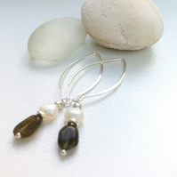 Labradorite Pearl Sterling Silver long earrings Handmade in England, Metalsmith