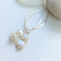 Pearl Sterling Silver long earrings Handmade in England, Metalsmith