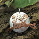 A'Magical' Hare Silver Pendant Copper Hare Silver Necklace