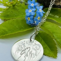 Silver Gazing Hare, Necklace, Freedom, Meadow Flower , Handmade