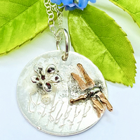 Dragonfly Summer Necklace, Freedom, Meadow Flower , Handmade