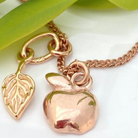 Rose Gold Apple Leaf Bracelet Thank You Teacher Rose Gold plated silver