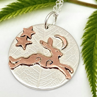 A'Magical' Running Copper Hare, Moon and stars, Silver Pendant, Hare jewellery