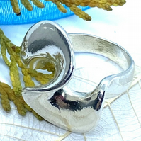 Silver Wave Ring. Heavy solid silver statement ring