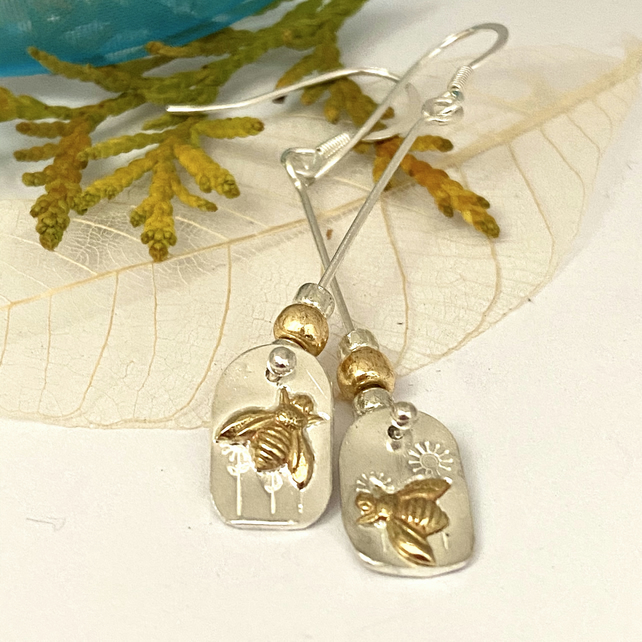 Bee Meadow Earrings Copper & Silver mismatched asymetrical  Dangle & Drop