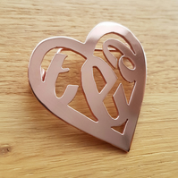 Handmade 'love tea' copper brooch - or customize with any (very short) word!