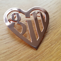 Handmade 'love gin' copper brooch - or customize with any (very short) word!