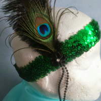 GREAT GATSBY GREEN SEQUIN PEACOCK FEATHER HEADBAND PROM BURLESQUE  COSTUME