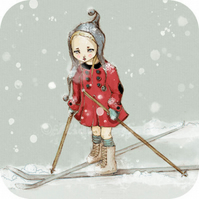 The girl with the six button red coat who hated skiing -- Print 5x7""