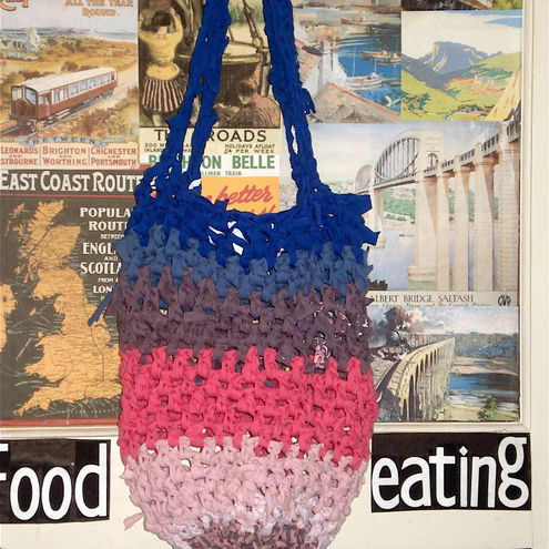Shopping Bag, Crocheted Upcycled T-Shirt Yarn