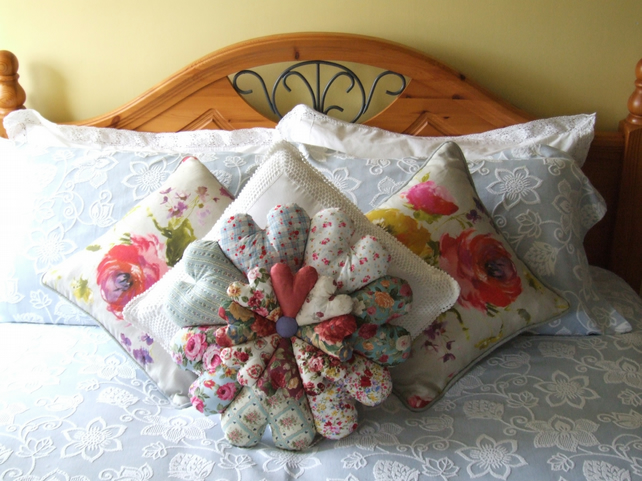 Large lavender scented  double daisy cushions