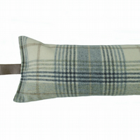 Draught Excluder M & S Torrin Plaid Duck Egg Wool fabric 1.9kg heavy weighted